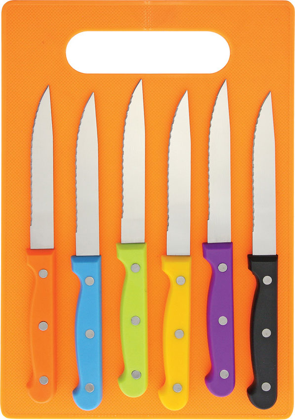 6 Piece Serrated Steak Knife Set In Orted Colors With Orange Cutting Board