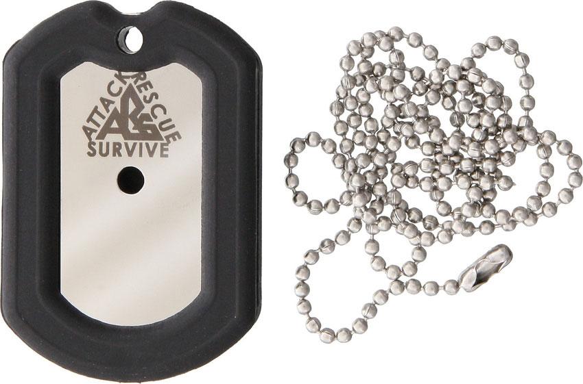The Original Dog Tag Knife Survival Tool Kit, 440C Blade, Black Rubber Frame