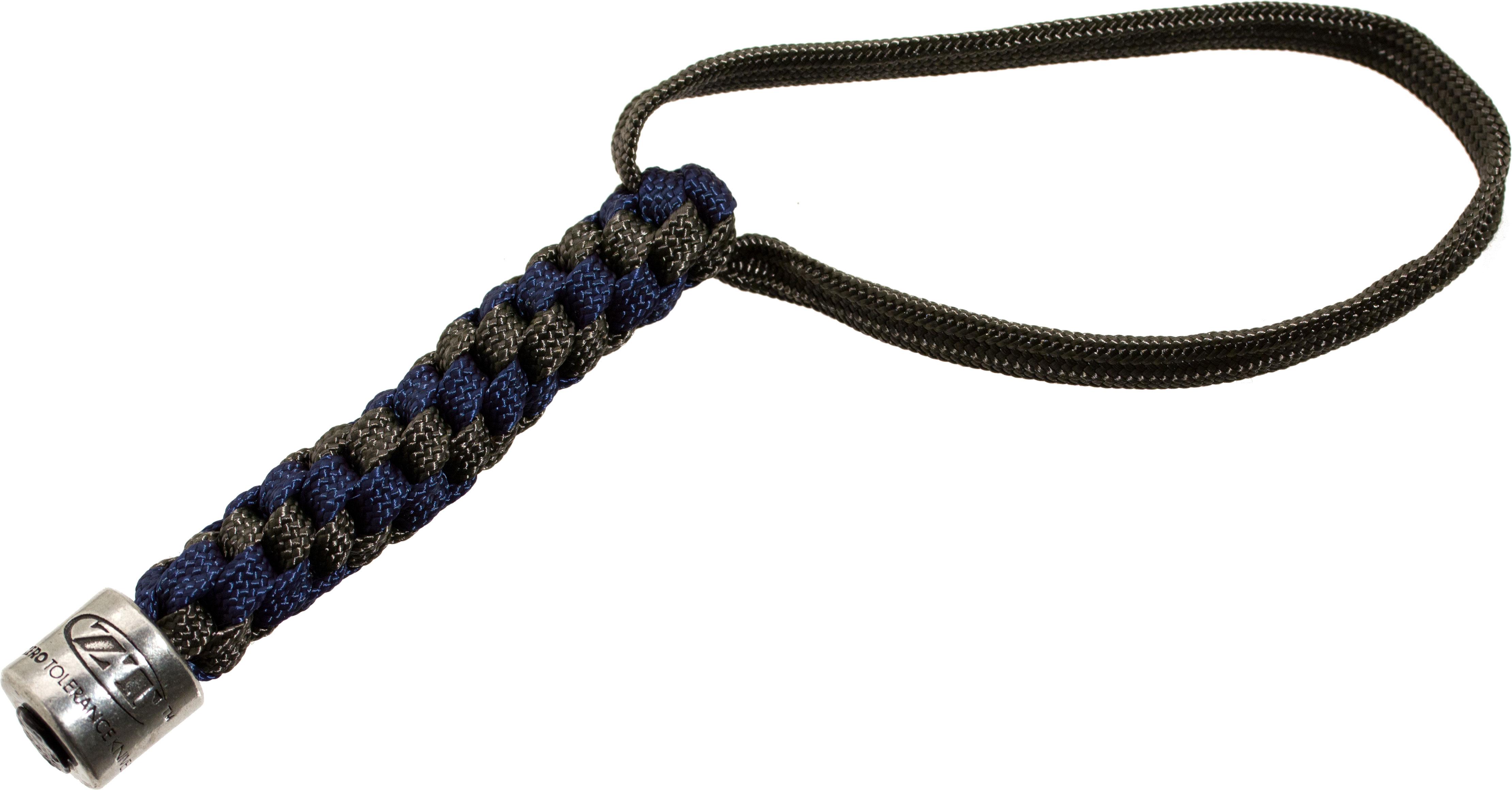 Zero Tolerance Gray/Blue Lanyard with Pewter ZT Bead